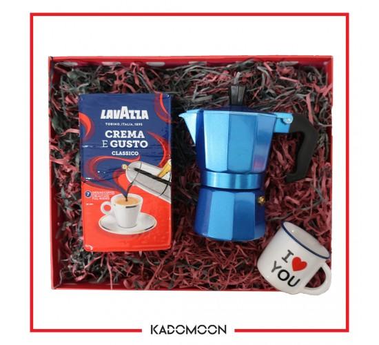 پک هدیه موکاپات و قهوه  رنگ آبی