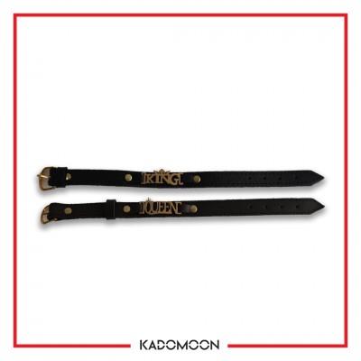 ست دستبند چرمی طرح king&Queen